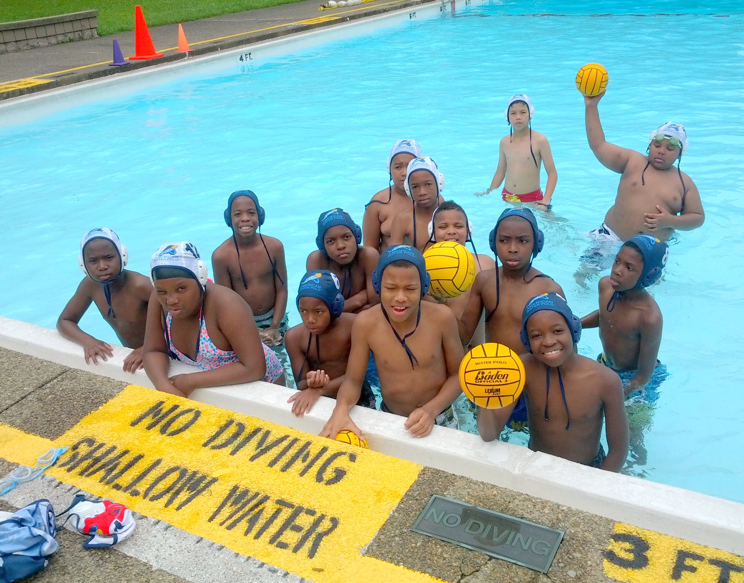 Garfield Gators in the pool after playing water polo