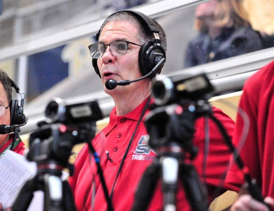 Mark Rauterkus, broadcaster at the WPIAL swim meet